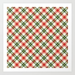 Christmas Plaid in Red and Green Art Print