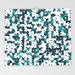 Take me to the bottom of the ocean - Random Pixel Pattern in shades of blue green Throw Blanket