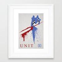 evangelion Framed Art Prints featuring Evangelion Unit 00 by DaveBot