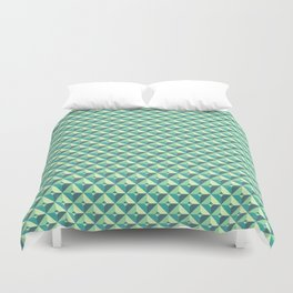 Green Triangles Pattern Duvet Cover