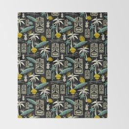 Island Tiki - Black Throw Blanket