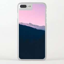 Pink Sunset Rolling Hill Silhouette Landscape Photo Clear iPhone Case