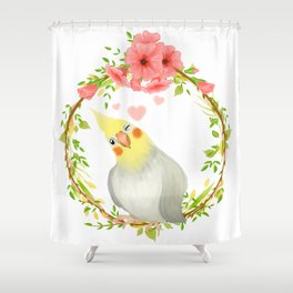 With Love From The Sweetest Cockatiel Shower Curtain