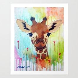 Rainbow Giraffe Kunstdrucke