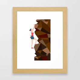 Vintage Cool Girl Rock Climbing Framed Art Print