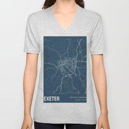 Exeter Blueprint Street Map, Exeter Colour Map Prints Unisex V-Neck