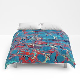 Vintage Marble Blue Watercolor Ink Abstract Pattern Comforters