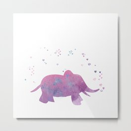 Love is in the air - Elephant animal watercolor illustration Metal Print