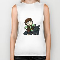 hiccup Biker Tanks featuring Chibi Hiccup and Toothless by Gio Garcia