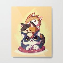 Cat Stack Doodle Metal Print