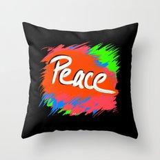 Peace (retro neon 80's style) Throw Pillow