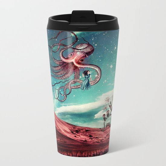 Sunrise Flight on Purple Planet Metal Travel Mug