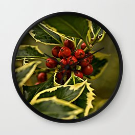 Christmas Holly with Red Berries Wall Clock