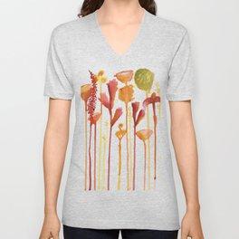 Bright Drip Florals Unisex V-Neck