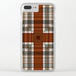 Burnt Sienna Plaid Pattern Clear iPhone Case