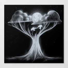 Sharing The Moonlit Sky Canvas Print