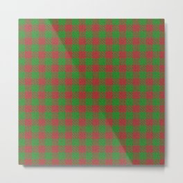 Accident, Medium Carmine on Forest Green Ungulate Plaid Metal Print