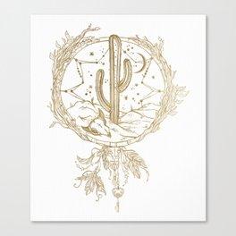 Desert Cactus Dreamcatcher in Gold Canvas Print