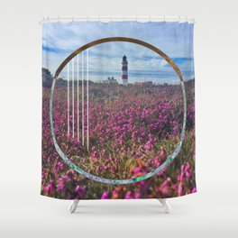 Lighthouse - circle graphic Shower Curtain