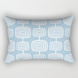 Mid Century Modern Atomic Rings Pattern Light Blue Rectangular Pillow