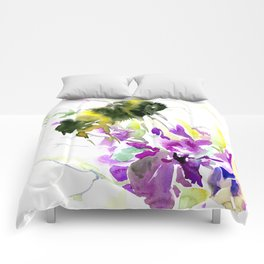 Bumblebee and Flowers floral bee design Comforters