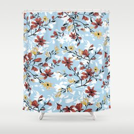 Vintage seamless flowers pattern. Simple floral background Shower Curtain