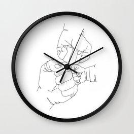 Family of Three Hands Minimalist Line Drawing Wall Clock