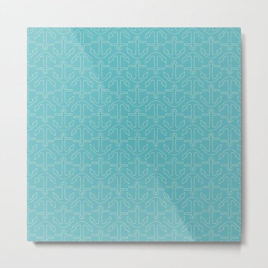 Beach Series Aqua - White Anchors on turquoise background on #Society6 Metal Print
