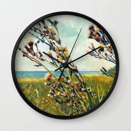 Thistles on the Beach Wall Clock