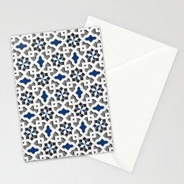 black, white, blue, grey -  Oriental design - orient  pattern - arabic style geometric mosaic Stationery Cards