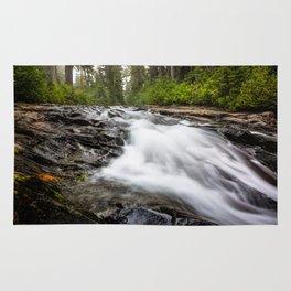 Rush - Paradise River Rushes to Falls in Mt. Rainier National Park Rug