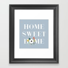 Floral Home Sweet Home - in Dusty Blue Framed Art Print