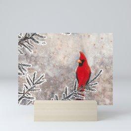 The Red Cardinal in winter Mini Art Print