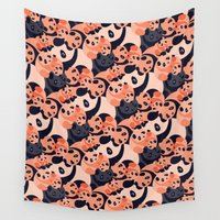 pandas Wall Tapestries featuring Somos Pandas by Pamku