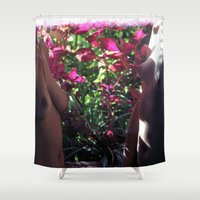 boobs Shower Curtains featuring Pretty Floral Boobs by Slow Toast
