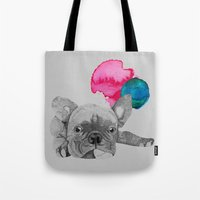french bulldog Tote Bags featuring French Bulldog  by Olivia James