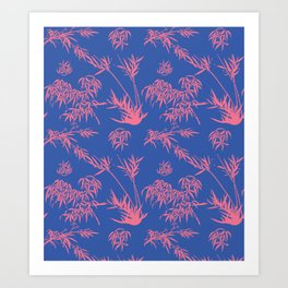 Bamboo Silhouettes in China Blue/Coral Reef Art Print