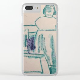Turquoise Sketching Clear iPhone Case