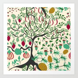 Fairy seamless pattern garden with plants, tree and flowers Art Print