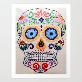 Hand Embroidered Candy Skull Image Art Print