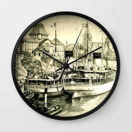 THE HARBOUR IN GREYS Wall Clock