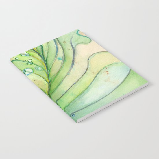 Green Watercolor Peacock Feather and Bubbles Notebook