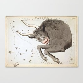 Vintage Taurus Constellation Map (1825) Canvas Print