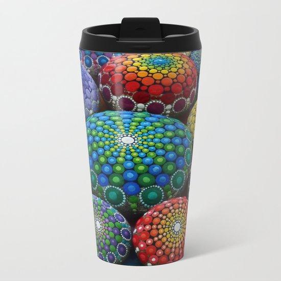 Jewel Drop Mandala Stone Collection #1 Metal Travel Mug