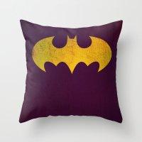 batgirl Throw Pillows featuring Batgirl by Fries Frame