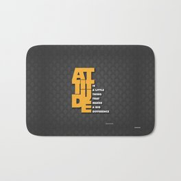Lab No. 4 - Attitude is a little thing Winston Churchill Inspirational Typography Quotes Poster Bath Mat