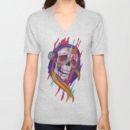 Illustration of Colorful Skull Unisex V-Neck
