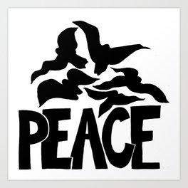 Peace in black Art Print