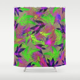 exotic green, pink and purple plants pattern Shower Curtain