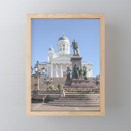 Cathedral and Alexander II statue Helsinki | Finland travel photography | Bright and pastel colored photo print | Framed Mini Art Print